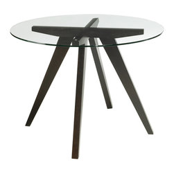 Sunpan - Sunpan Apollo Round Espresso Wood/ Glass Dining Table - Four espresso wood legs intersect to form the unique base of the Apollo round dining table. Modern and graceful,this eye-catching table is finished with a solid tempered glass top to give your decor mid-century flair.