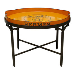 Hand-Painted Hermes Tray on Wrought Iron Stand