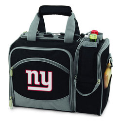 Picnic Time - New York Giants Malibu Picnic Pack in Black - Insulated pack with picnic service for 2 made of 600D polyester canvas. The elegant and unique Malibu shoulder pack is perfect for picnics, concerts, or travel. This tote has an integrated wine storage section and a spacious food storage section with removable liner. The adjustable shoulder strap makes it easy to carry. A wonderful gift idea.; Decoration: Digital Print; Includes: 2 Wine glasses (acrylic), 2 Napkins (cotton 14 x 14 in.), 1 Corkscrew (waiter style stainless steel), 1 Cutting board (wood 6 x 6 in.), 1 Cheese knife (stainless steel w/wood handle), 2 Plates (melamine 9 in.), 2 Ea. Knives forks & spoons (stainless steel), 2 Napkins (cotton 14 x 14 in.)