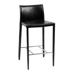 Eurostyle - Eurostyle Shen-C Leather Counter Chair w/ Steel Frame in Black [Set of 2] - Leather Counter Chair w/ Steel Frame in Black belongs to Shen Collection by Eurostyle Seat, back legs covered completely in leather; chromed foot rest. Available in bar and dining height. Dimensions: 20L x 17W x 34H. Some assembly may be required. Please see product details. Seat, back legs covered completely in leather; chromed foot rest. Available in bar and dining height. Counter Chair (2)