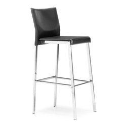 Zuo Modern - Zuo Modern Boxter Modern Bar Chair X-021901 - The Boxter comes in three heights: dining, counter, and bar. This stylish chair carries a sturdy heft from a regenerated leather seat and back with stitching and a solid steel chrome frame.