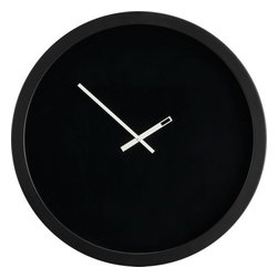 eclipse clock - sports watch. Minimalist aesthetic ups the wall in exaggerated scale. Black no-number face with precision-detailed white hands marks time over three feet wide. Fine white line eclipses interior rim. Black metal frame. Glass lens protects. Three AA batteries (not included). Includes back mounted hanger; wall hardware not included.- Overscaled- Black metal frame with glass lens- Requires three AA batteries (not included)- Made in China
