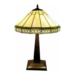 Warehouse of Tiffany - Tiffany-style Roman Table Lamp - Brighten your d�cor with this Tiffany-style Roman table lamp. Featuring a sturdy metal base with a bronze finish that enhances its aesthetic value, this lamp has a pull-chain switch and a glass shade with a pattern that is sure to draw attention.