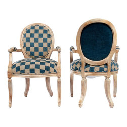 """Gustavian Style Shield Back Chairs - $500 Est. Retail - $200 on Chairish.com - This gorgeous pair of shield back chairs are upholstered in a large navy and cream check pattern and the Gustavian lines along with a soft cream base give these chairs a classic elegance workable with many aesthetics. Checkmate! They were originally purchased through the Kellogg Collection. Some more measurements: the seat W is 23"""", the seat H is"""
