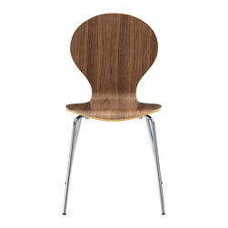 Ant Chair in Walnut - We love the sculpted design of the Ant Chair. With stainless steel legs and a contemporary contoured shape, the chair makes seating a stylish affair�even if it's just to have cereal at the breakfast table.