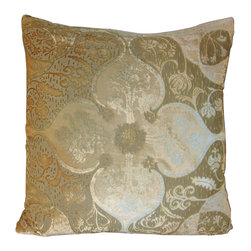 """Persian Velvet Gold and Beige Pillow - 20"""" - Florals grow bold and metallic grow soft in the Persian Velvet Pillow, a confection of smooth and tawny velvet containing hues of gold, brass, and silver to lend the cushion endless variation with the light. The curling leaves, soft clouds, and beautifully-rendered irises are naturalistic elements which come together into the bold geometry familiar from the finest examples of traditional weaving, pleasurable luxuries exported around the globe."""