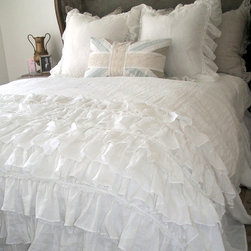 Lily Ruffle Duvet - Beautiful and breathtaking, the Lily Ruffle Duvet is a luxury vintage wash linen duvet cover with layers and layers of the finest linen. 100% linen and made in USA.