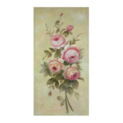 Oriental Furniture - Hand Painted Rustic Roses in Bloom - The focus of this hand-painted work of art is the variety of China rose known as the Old Blush. The Old Blush is often called the 'Monthly Rose' because of the regularity with which it blooms. It is characterized by the pale pink blooms that deepen with age, shown here in a small spray.