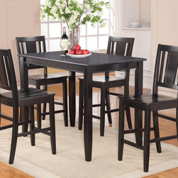 """East West Furniture - 5 Pc Buckland Counter Height Table and 4 Stools with Wood Seat - 5 -Piece Buckland Counter Height Table 30""""X48"""" & 4 Stools with Wood Seat In Black Finish; This Buckland dinette set is the perfect addition to any modern home with its rectangular shape and alluring black finish.; The counter height table comfortably seats between four and eight people and offers plenty of leg room underneath.; Transition edges on the tabletop offer a touch of class to this modern Buckland counter height dining set.; Black bean faux leather seats coordinate well with the wood finish and provide padded surfaces to rest while dining.; Montrose-style dining chairs are counter height, and the lanky design of this Buckland dinette set gives the entire kitchen more dimension.; Weight: 136 lbs; Dimensions: Table: 48""""L x 30""""W x 36""""H; Chair: 18""""L x 17""""W x 42""""H"""
