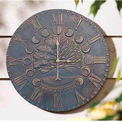 Whitehall Products - Verdigris Time and Season Clock - Watch the seasons change with this times and season clock. It is crafted of recycled aluminum and finished in verdigris weather resistant paint. Whitehall Products - 01693