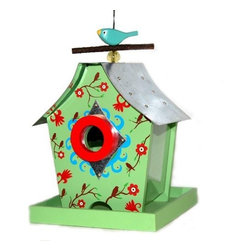 Rosso's International - Retro Chic Feeder Fall Blossoms - Our bird feeders are fully functional and the roofs are made of galvanized steel. Features: capacity: 3.5 cups, 12 screws, 18 drainage holes, can fill from the top, 1.5 inch hole