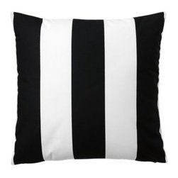 Serena & Lily - Awning Stripe Pillow Cover Black - Tried-and-true awning stripes have always had a place in our heartsand now in our homes. More beachy glam than sporty, our stripes are large and in charge, and ready to mix with prints of any scale.