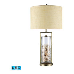 Dimond Lighting - Dimond Lighting D1978-LED Millisle Table Lamp In Antique Brass And Clear Glass W - Millisle Table Lamp In Antique Brass And Clear Glass With Shells Inside And An Off-White Woven Linen Shade-Off-White Fabric  Liner- Led Offering Up To 800 Lumens (60 Watt Equivalent) With Three Way Capabilty. Includes An Easily Replaceable Led Bulb (120V)
