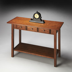 Butler Specialty - Butler Console Table - Straight lines and rectangles establish the compelling design motif for this casual-to-transitional styled table  - from straight legs to rectangular base, tabletop and three drawers. Crafted from cherry wood solids and cherry veneer in the Cinnamon finish.