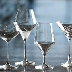 Rolf Glass Mid-Century Modern Contemporary Martini Glasses - Perfect glassware to showcase your cocktails and shine! Whimsical etching individually accents each glass