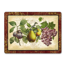 """4 Hardboard, Corkback, Placemats Tuscan Old World Fruit - Tuscan Old World Fruit Cork-back, Non-skid, Hardboard 15.75"""" x 11.5"""" Table Mat/Placemats are produced using layered construction for years of carefree use. This beautiful designer art product is special ordered  for you from the manufacturer. It is not returnable and may take a little longer to receive."""