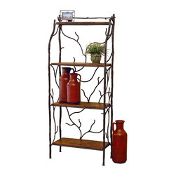 Mathews & Company - Large South Fork Baker's Rack W/ Shelves - Artistic and creative, the large south fork baker's rack with shelves is a useful and beautiful piece of furniture. This rack can be used to store books, little figures, or a variety of other decorations. Unique and lovely, hand wrought iron vines creep up between the iron frame of the rack. These same twisting vines seem to grow up the sides as well to from stable yet artistic sides to the rack. Choose from elegant crystal clear glass shelves, homey old pine shelves, or copper shelves with lots of personality.