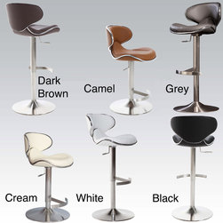 Matrix - Ecco Adjustable Height Swivel Stool - Add a modern touch to your home bar or dining room with this trendy adjustable height swivel stool. Available in four different colors, the stool features a sturdy metal base, durable polyurethane upholstery, and an elegant brushed silver finish.