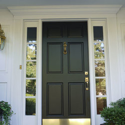 Simpson 6 Panel Wood Door with Bronze Kick Plate (Black) - Simpson 6 Panel Wood Door with Bronze Kick Plate (Black)