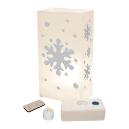 LumaBase Luminarias - Remote Control Luminaria Kit Snowflake - Remote control luminarias are a beautiful way to welcome guests. Luminarias add a decorative flair while lighting the way for guests by lining your driveway, walkway, sidewalk, staircase or patio. They are made of a durable plastic that will be enjoyed for many seasons. Easily turn on and off your luminaries with the convenience of a push button. Included: 10 Plastic Lanterns, 10 Battery Operated Tea Light Candles (batteries inncluded), 10 LumaBases