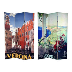 Oriental Unlimited - Double Sided 6 ft. Tall Capri & Verona Canvas Privacy Screen - 3 Panels - One double-sided divider, both sides shown in image. Beautifully inviting travel posters adorn each side of this breathtaking screen. The front is a rendering of the spectacular view of Capri Harbor from at the rotunda in the Villa San Michelle. The back is an attractive graphic art print of the magnificent statues and architecture in the city of Verona. The subtle colors and compelling shapes of these unique commercial art prints provide attractive interior design elements for any room. The subtle colors and compelling shapes make this a perfect choice for a decorative accent or a focal point. This 3 panel screen has different images on each side. High quality wood and fabric covered room divider. Well constructed, extra durable, kiln dried Spruce wood frame panels, covered top to bottom, front, back and edges. With tough stretched poly-cotton blend canvas. 2 Extra large, beautiful art prints - printed with fade resistant, high color saturation ink, creating 2 stunning, long lasting, vivid images, powerful visual focal points for any room. Amazingly inexpensive, practical, portable, decorative accessory. Almost entirely opaque, double layer of canvas, providing complete privacy. Easily block light from a bedroom window or doorway. Great home decor accent - for dividing a space, redirecting foot traffic, hiding unsightly areas or equipment, or for providing a background for plants or sculptures, or use to define a cozy, attractive spot for table and chairs in a larger room. Assembly required. 15.75 in. W x 70.88 in. H (each panel)