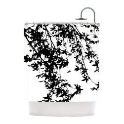 Showering Branches Shower Curtain - This fun piece is a great way to add waterproof artwork to your bathroom. Bring modern, natural life to your shower with the high-quality Showering Branches Shower Curtain. Enjoy the whimsically shaped leaves and dangling, spiky pompoms of a sweetgum tree without any risk of stepping on spines.