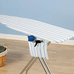 """Home Decorators Collection - April Stripe Ironing Board Cover and Pad - We love stripes, even on an ironing board. Our striped cover features blue, white, green and yellow for a bright and cheery look. Fit the cover around your ironing board with the bungee cord binding and tailored nose for a snug fit. One-piece construction. Cover includes a hidden storage pocket that can be tucked away. Includes a thick foam pad. Fits standard size 53-54""""W x 13-15""""D ironing board tops."""