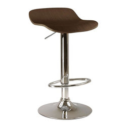 Winsome Wood - Adjustable Bar Stool in Cappuccino Finish - S - You may be surprised by the amazing comfort of our Kallie barstools. They feature ergonomic wave shaped seats with cappuccino wood grain veneers. Chromed bases with swiveling foot rails also hydraulically adjust for height to accommodate each and every guest. Set of 2. Adjustable height . Swivel. Made of natural wood Veneer top and metal base. Not for commercial use. Available in different finishes. 16.73 in. L x 15.2 in. W x 33.61 in. H (32 lbs.). Adjustable Seat Height from 22.70 to 30.80 in.. Accommodates up to 200 lbs