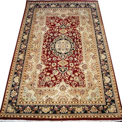 "ALRUG - Handmade Red Persian Isfahan Rug 4' x 6' 3"" (ft) - This Pakistani Isfahan design rug is hand-knotted with Wool on Cotton."