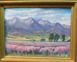 Mount Nebo With Clary Sage Field  (Original) by Russell Ricks - On location plein air sketch. A scene from South Central Utah in early July. This was painted as a study for a large wall mural.