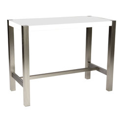 Moe's Home Collection - Moes Home Riva Rectangular Counter Height Table in White - Pub style table with a contemporary twist.