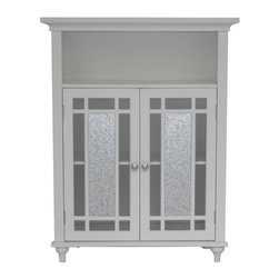 Elegant Home Fashions - Windsor Double Door Floor Cabinet - The Windsor Double Floor Cabinet from Elegant Home Fashions offers sleek lines for a modern look.   This cabinet features two glass doors centered with silver mosaic glass accented with grid-work design and beveled molding. This unit offers plenty of storage space with one open shelf and one interior adjustable shelf making it easy to store items of different heights.  Chrome finish door knobs showcase the modern design. This cabinet comes with assembly hardware.
