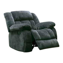Homelegance - Homelegance Laurelton Glider Reclining Chair in Charcoal Microfiber - Generous seating combined with functional touches makes the Laurelton collection the perfect addition to your living room. The double glider reclining love seat's center console features dual cup holders and hidden storage. Plush textured charcoal microfiber covers this amply appointed seating group.