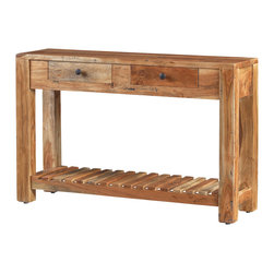 Artemano - Lydia Console Table Made of Acacia Wood - Spruce up your entryway, hallway or dining room with this beautifully designed, handcrafted console table. Each piece of the Lydia Console Table is carved out of high-integrity acacia wood and each table is equipped with two practical pullout drawers for storing small items.  The petite profile means it is an easy fit for even the smallest rooms and most narrow passageways. Turn any room from zero to hero!