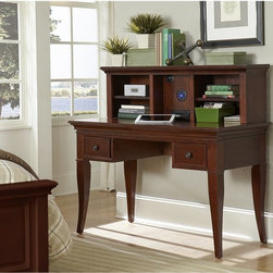 NE Kids - Walnut Street Desk - Chestnut Brown - FUB560 - Shop for Childrens Desks from Hayneedle.com! The Street Desk Chestnut makes an excellent complement to your traditionally-designed decor. This charming piece features a sturdy frame constructed from a combination of fine poplar hardwood solids and select veneers. The design incorporates plenty of storage with three spacious pull-out drawers and a pull-out keyboard tray. Each drawer features a solid iron oil-rubbed bronze finished pull. A matching optional hutch with a fixed self is included for additional storage space. (Dimensions: 47.5L x 10.25W x 14H inches). About New Energy Kids NE Kids is a company with a mission: to create and import truly unique furniture for your child. For over thirty years they've been accomplishing this mission with flying colors one room at a time. Not only will these products look fabulous they will provide perfect safety for your children by adhering to the highest standards set by the American Society for Testing and Material and the Consumer Products Safety Commission. Your kids are in the best of hands and everyone will appreciate these high-quality one-of-a-kind pieces for years to come.