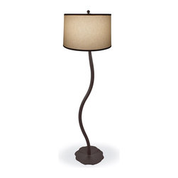 Mathews & Company - Wrought Iron Diamondback Floor Lamp - Our Contemporary style wrought iron Diamondback Floor Lamp is a beautiful piece of hand-crafted home furniture. Lamp is UL Approved and pre-wired, all you have to do is add a light bulb and plug it in to start enjoying its warm light. Pictured in Natural Linen Drum shade and Black finish.
