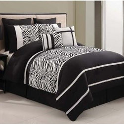 Victoria Classics Laken Zebra Comforter Set - Take your bedroom for a walk on the wild side with the Victoria Classics Laken Zebra Comforter Set. This bold comforter set is well-made of polyester to be soft and machine-washable. It features a graphic black and white design with zebra pattern and alternating wide stripes. A complete comforter set, this one gives you the comforter, two matching pillow shams, two Euro pillow shams, one bed skirt, one square pillow, and one breakfast pillow. It comes in your choice of size.Quilt Dimensions:Full/Queen: 90W x 90L inchesKing: 104W x 90L inches