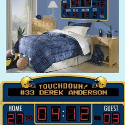 Football Scoreboard Peel-and-Stick Wall Mural - I love this personalized scoreboard. It's actually a wall-friendly peel-and-stick decal, but it brings a very real feel to any football-themed room.