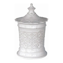"Juliska - Juliska Jardins du Monde Alcazar Grande Canister Whitewash - Juliska Jardins du Monde Alcazar Grande Canister Whitewash. Add sculptural interest to mantle, counter, or nook with this eye-catching canister. Crowned with an elegant lid and lavishly clad in a moorish motif, we adore three in a row of descending sizes to provide handsome housing for sugar, flour, and loose tea leaves. Also makes a stunning wedding gift. Dimensions: 15"" H x 7.5"" W Capacity: 5.25 Qt"