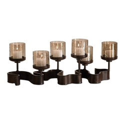 Silver Nest - Ribbon of Candles - Elegant Tabletop candleholder.  Antiqued Bronze Metal With Transparent Copper Brown Glass. Beige Candles Included.