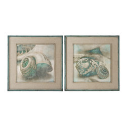 Uttermost - Uttermost Coastal Gems 2 Framed Art Panels - 2 Framed Art Panels belongs to Grace Feyock Collection by Uttermost These Oil Reproductions Feature A Hand Applied Brushstroke Finish. Outer Section Of Frames Have Lightly Distressed, Muted Aqua Undertones With Heavy Charcoal Wash. Inner Lips Have An Off-white Undertone With Heavy Taupe Wash. Mats Are Gray, Oatmeal Linen. Wall Art (2)