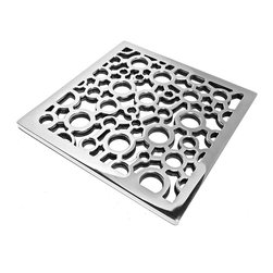 "Designer Drains - Nature Bubbles Shower Drain, Brushed Stainless Steel/Nickel - Brushed Stainless Steel made to fit Ebbe drain roughs E4400. This Designer Drains Bubbles measures 5/32"" x 3-3/4"" Square. Made in the USA"
