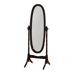 "ADAD527-BK - Black Finish Wood Free Standing Cheval Floor Mirror - Black finish wood free standing cheval floor mirror. Measures 18"" W x 59"" H. Some assembly required."