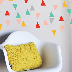 "the lovely wall co - Confetti Triangles - Wall Decal, Red Yellow Aqua - 40qty - 2.5"" triangles in multiple colors"