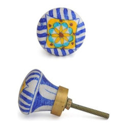 """Knobco - Floral Patchwork Knob, Blue & White Patchwork Knob W/ Yellow & Turquoise - Blue and White Patchwork Knob with Yellow and Turquoise Flower kitchen cabinet hardware  knob from Jaipur, India. Unique, hand painted cabinet knobs for your  kitchen cabinets. 1.5"""" in diameter. Includes screws for installation."""