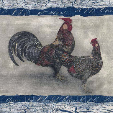 York Wallcoverings - Kitchen Rooster Hen Wallpaper Border - The rooster's crow signals that mornings have arrived on the farm. When you bring the Kitchen Rooster Hen Wallpaper Border into your kitchen, you can have a taste of the simple beauty of countryside mornings, afternoons and evenings even if the big city's outside. This charming country Prepasted Peelable wallpaper shows proud roosters and hens gorgeously rendered in a palette of vibrant hues. A French blue and white border with a crackled appearance and writing rounds out the stylish design. Manufactured in the U.S., the wallpaper border is very easy to clean and is strippable for simple mounting and removal.