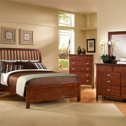 Vaughan Bassett - 5-Piece Slat Panel Bedroom Set in Cherry Fini - Choose Bed Size: QueenIncludes slat panel bed, chest, nightstand, triple dresser and landscape mirror. Cherry finish. Assembly required. Chest:. 5 Drawers. 38 in. W x 18 in. D x 51 in. H. Nightstand:. 2 Drawers. 26 in. W x 16 in. D x 29 in. H. Triple dresser:. 7 Drawers. 56 in. W x 18 in. D x 41 in. H. Landscape mirror:. Beveled glass. 35 in. L x 3 in. W x 39 in. H. Slat panel bed:. Full Size:. Includes slat headboard, platform footboard, wood rails and 3 1-inch slats. Slat headboard: 56 in. L x 4 in. W x 52 in. H. Platform footboard: 57 in. L x 2.5 in. W x 21 in. H. Wood rails: 76 in. L x 6 in. W x 1 in. H. Queen Size:. Includes slat headboard, platform footboard, wood rails and slats. Slat headboard: 63 in. L x 6 in. W x 58 in. H. Platform footboard: 64 in. L x 2.5 in. W x 21 in. H. Wood rails: 82 in. L x 6 in. W x 1 in. H. King Size:. Includes slat headboard, platform footboard, wood rails and metal support slats. Slat headboard: 80 in. L x 6 in. W x 58 in. H. Platform footboard: 81 in. L x 2.5 in. W x 21 in. H. Wood rails: 82 in. L x 6 in. W x 1 in. H. Under bed storage box: 52 in. L x 19 in. W x 7.5 in. H (optional)