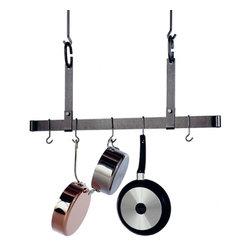 "Enclume - Premier 54 Inch Adjustable Ceiling Pot Rack Hammered Steel - Dimensions: 54""W x 19.5""H"