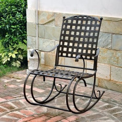International Caravan Santa Fe Wrought Iron Patio Rocker - Curling up with a good book can be even more satisfying when you're nestled in the luxurious comfort of the International Caravan Santa Fe Wrought Iron Patio Rocker. Sturdily built of wrought iron, it's finished in a beautiful Antique Bronze finish, complete with weather and UV light fade protection for lasting beauty. Elegant lines and scroll accents heighten the upscale appeal of this rocker, while the smooth rocking motion takes your comfort to a whole new level. A great accent piece for any patio or balcony, this handsome rocker what you need to unwind after a long day.