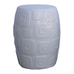 "Golden Lotus - White Porcelain Square Pattern Round Stool - Dimensions:   Dia 13.5"" / 11.5"" x h18"""